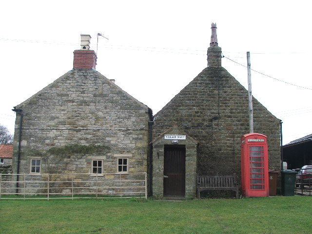 Levisham Village Hall and phone box.