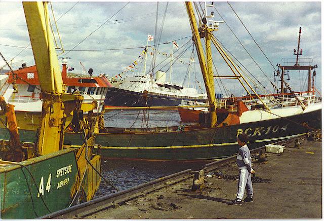 Trawlers and Britannia, Aberdeen Harbour.
