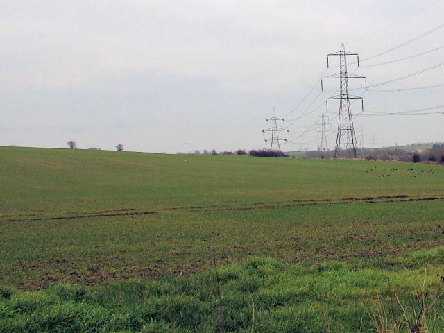 Pylons stretching across fields