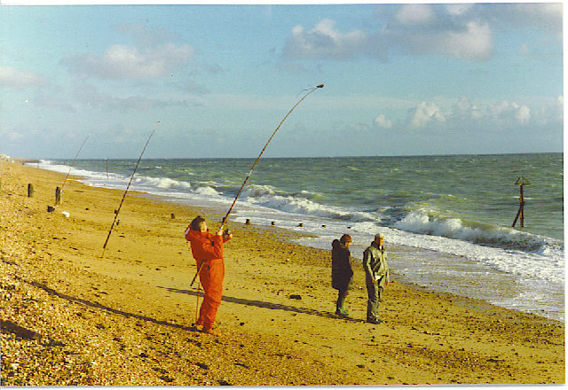 Fishing from the Beach at Hayling.