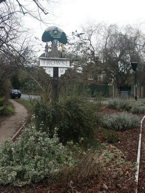 Village sign, Trowse