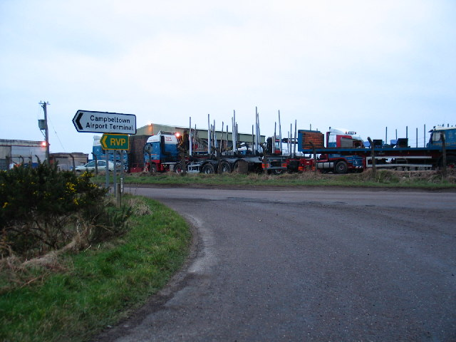 Moss Road junction leading to Campbeltown Airport Terminal.