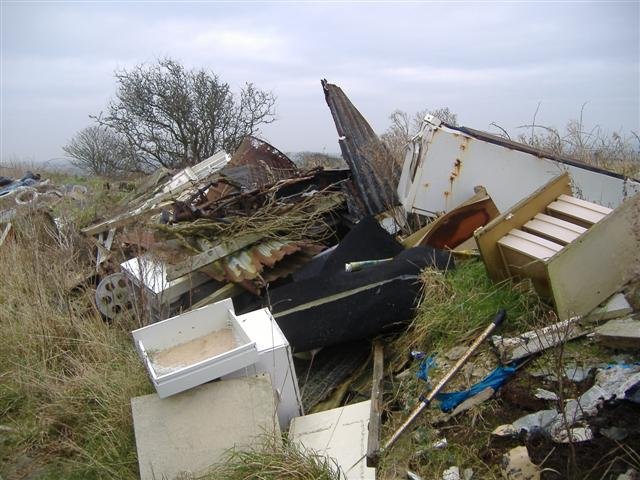 Recent flytipping at Ronague, Isle of Man