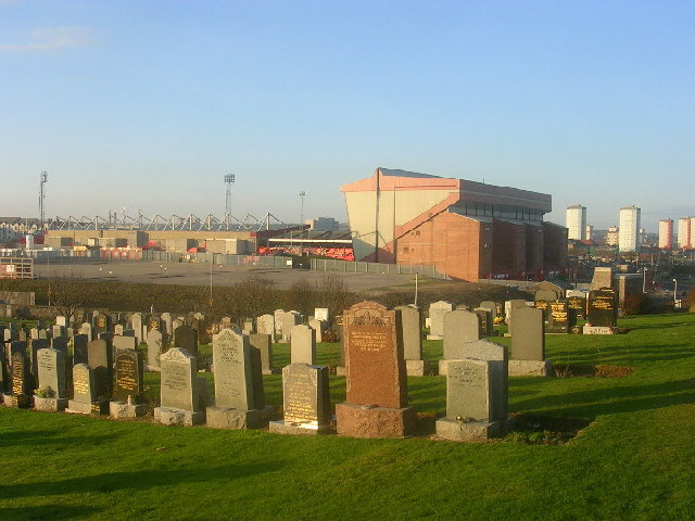 Trinity Cemetery and Pittodrie Stadium