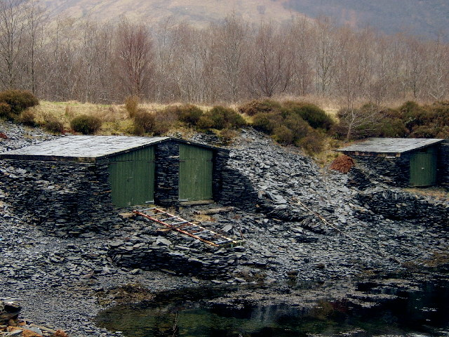 Slate huts on the banks of Loch Leven,  Ballachulish.