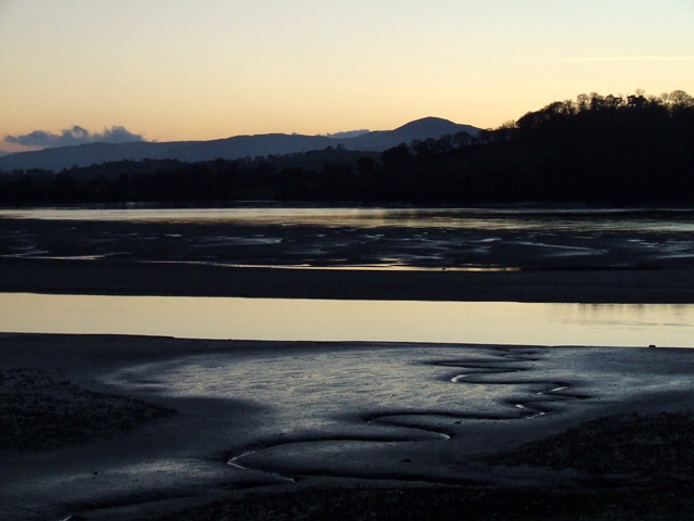 Mudflats on Conwy river at dusk