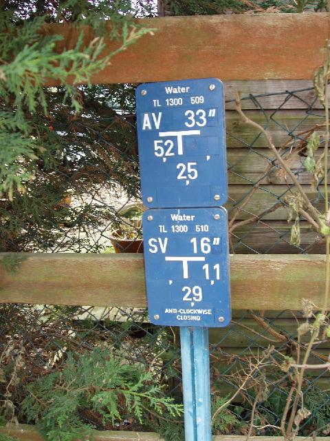 Water company valve sign, near Watford