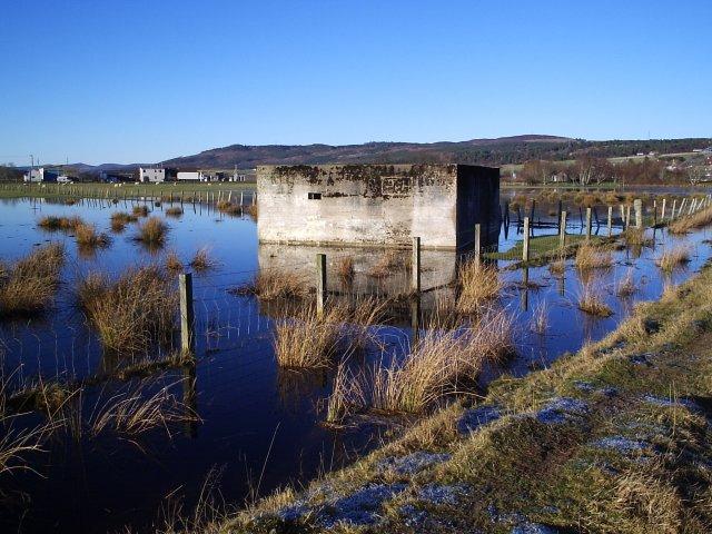 A War Time Bunker  with the High Tide in Bonar Bridge