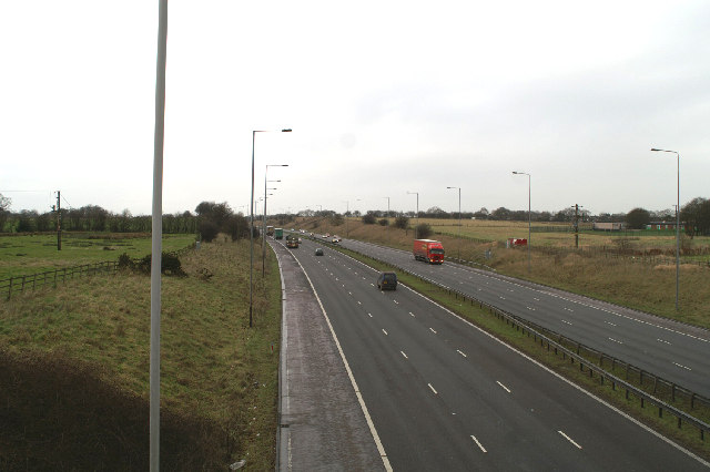 North on the M6 near Nixon Hillock
