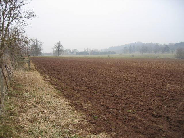 Ploughed field and Walton Hall