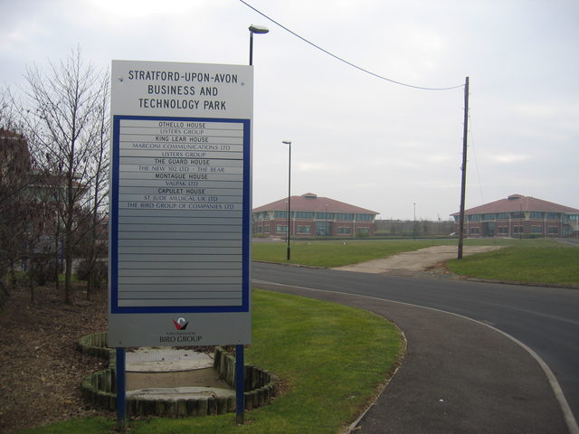 Sign at the entrance to Stratford-upon-Avon Business Park.