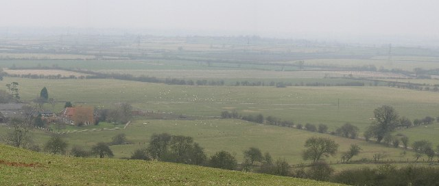 Medieval village site near Fulbrook Farm and fields beyond