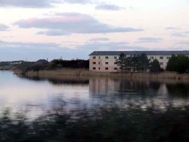Buildings alongside Llyn Penrhyn