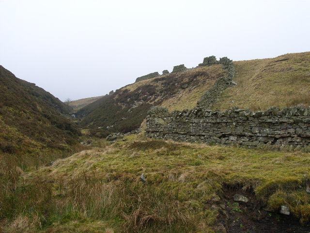 Broken wall, Woldgill Burn