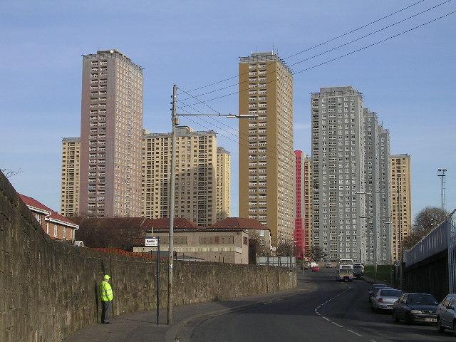 Petershill Road looking towards Red Road Tower Blocks