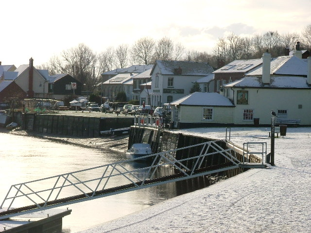 Rowhedge Quay in Snow.