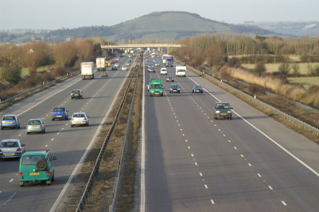 M5 Heading North, Brent Knoll in the background