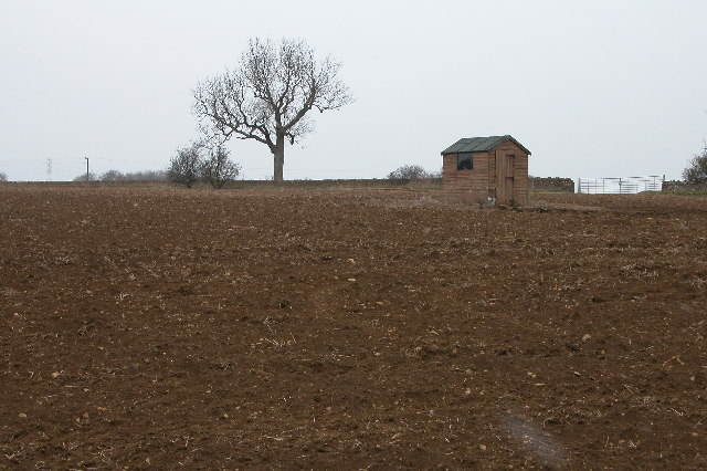 Garden shed in a ploughed field, near Brockhampton