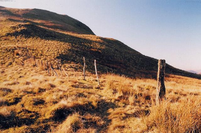 Abandoned fence on Mynydd Dol-ffanog