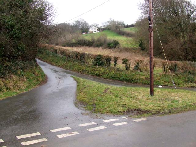 Road junction with triangular grass island