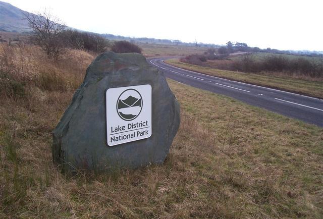 Close up of national park boundary stone.