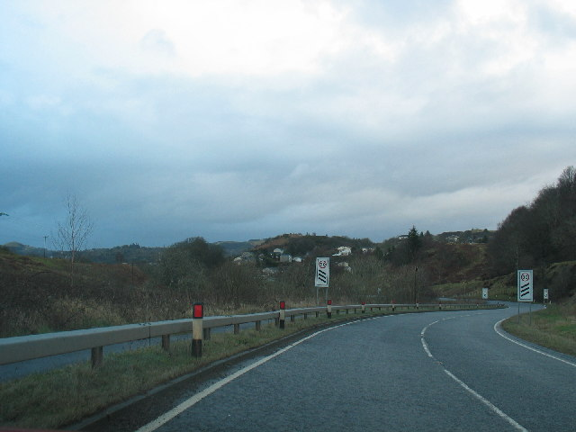 A816 approaching Oban from the south.
