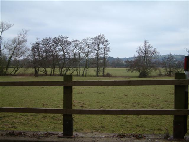 Looking West over fields in the River Usk flood plain
