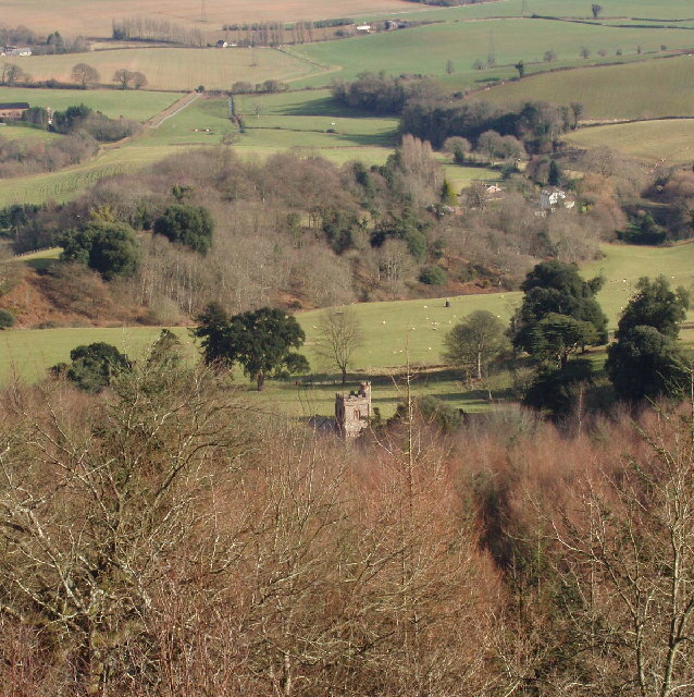 Distant view of Mamhead Church and surroundings