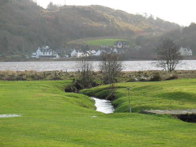 West Loch Tarbert Hotel and houses from Kilberry road.