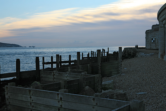 Sea defences on south side of Hurst Castle