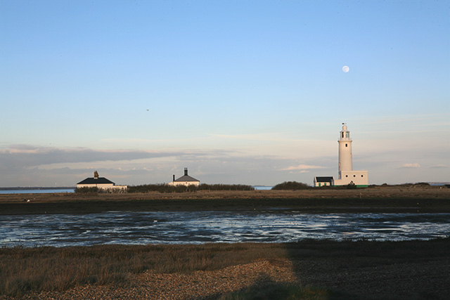 Lighthouse at Hurst Castle seen at dusk