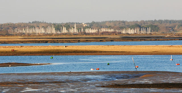 Moorings at Keyhaven seen across The Mount