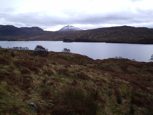 Looking across Loch Assynt from Tumore