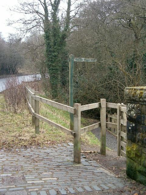 Signpost for the Clyde Walkway, Cardies Bridge