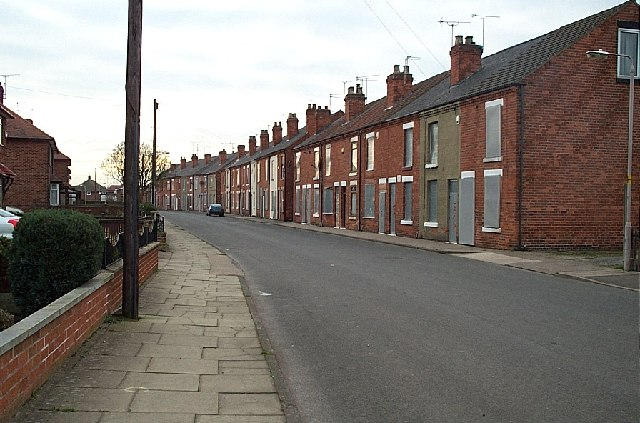 Terraced houses ready for demolition