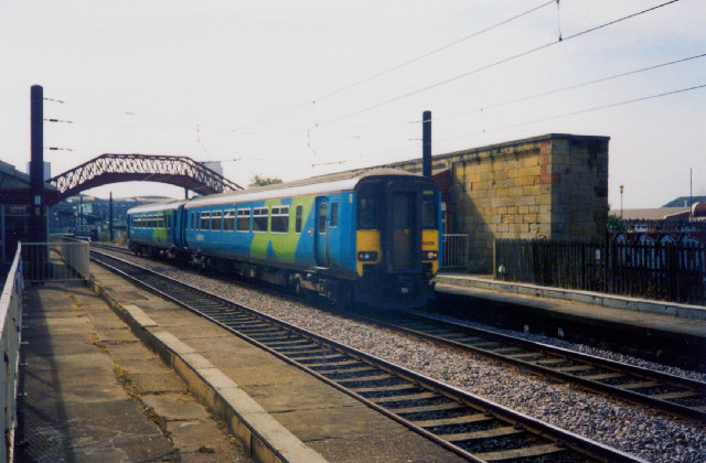 Sunderland to Newcastle Railway passing through Monkwearmouth Station Museum, Sunderland