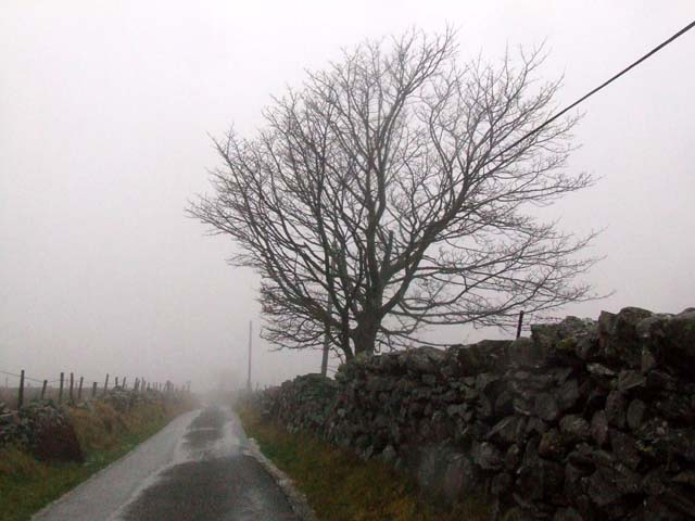 country road in low cloud
