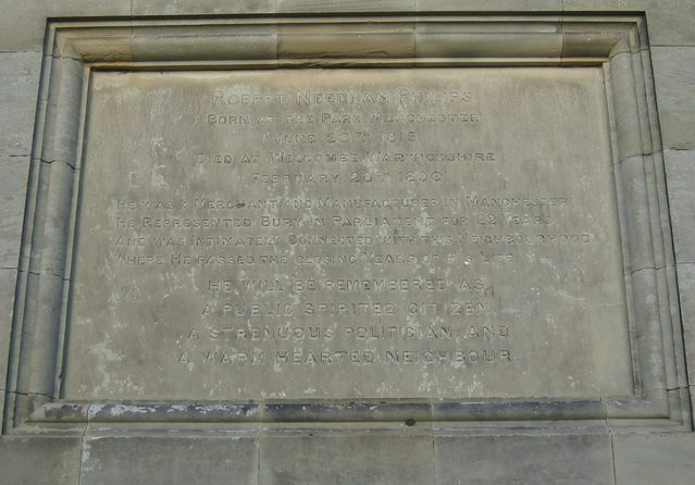 Plaque to Robert Needham Philips on Welcombe Bank Obelisk