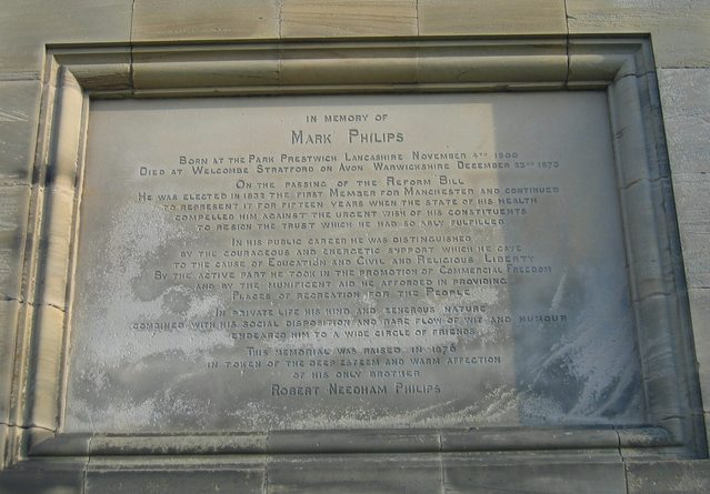 Plaque to Mark Philips on Welcombe Bank Obelisk
