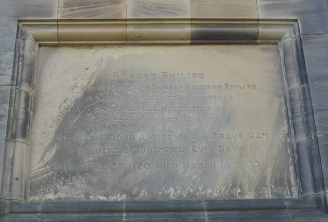 Plaque to Robert Philips on Welcombe Bank Obelisk