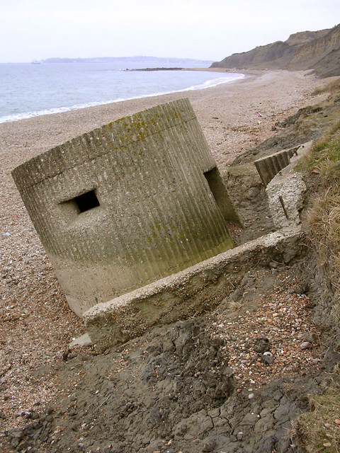 Derelict pillbox east of Redcliff Point, Weymouth Bay