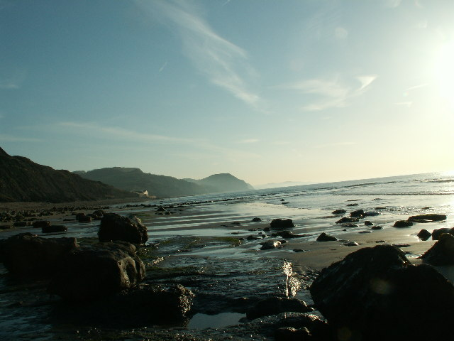 Low tide looking east towards Charmouth