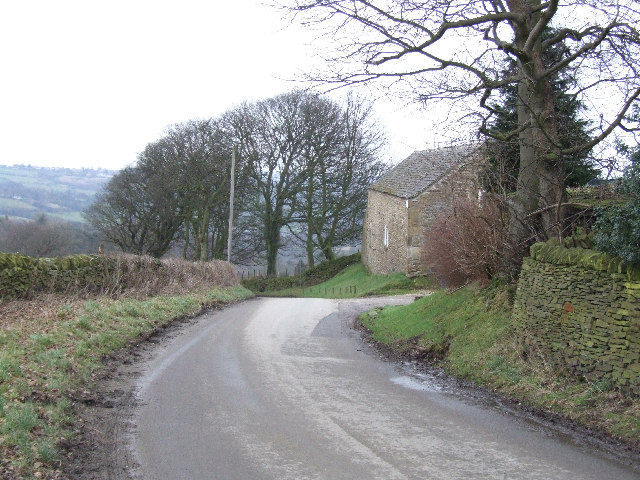 The road passing by Fox Lane Farm.