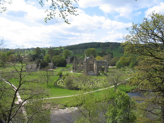 Bolton Abbey ruins from a height