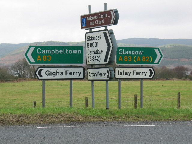 Road signs by the A83 Argyll.