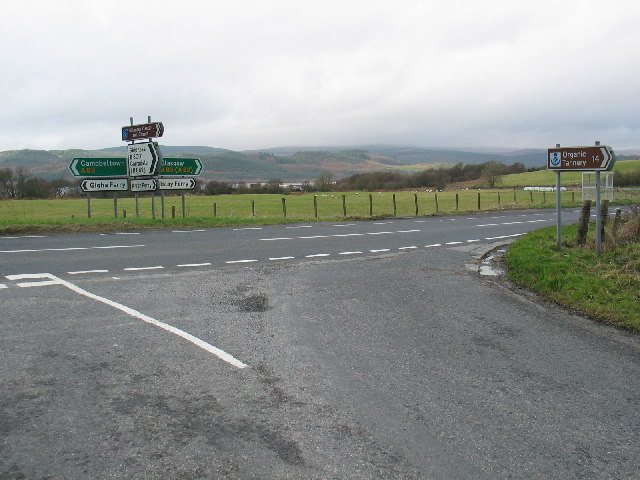 Road  junction A83 and B8001 Kennacraig,Argyll.