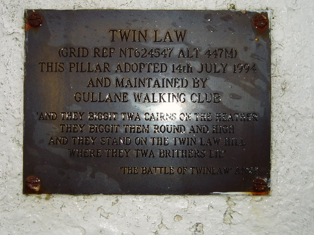 Plaque on Twin Law Trig Point