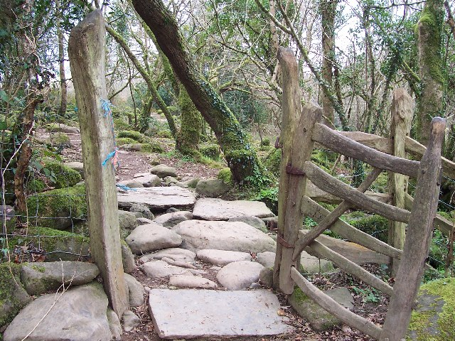 Gate on footpath alongside Afon Dwyfor