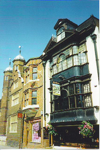 Abbot's Hospital and The Three Pigeons, Guildford.