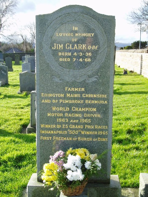 The grave of Racing Driver Jim Clark
